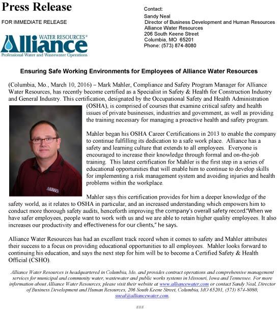 Press Release-Alliance_MarkMahler